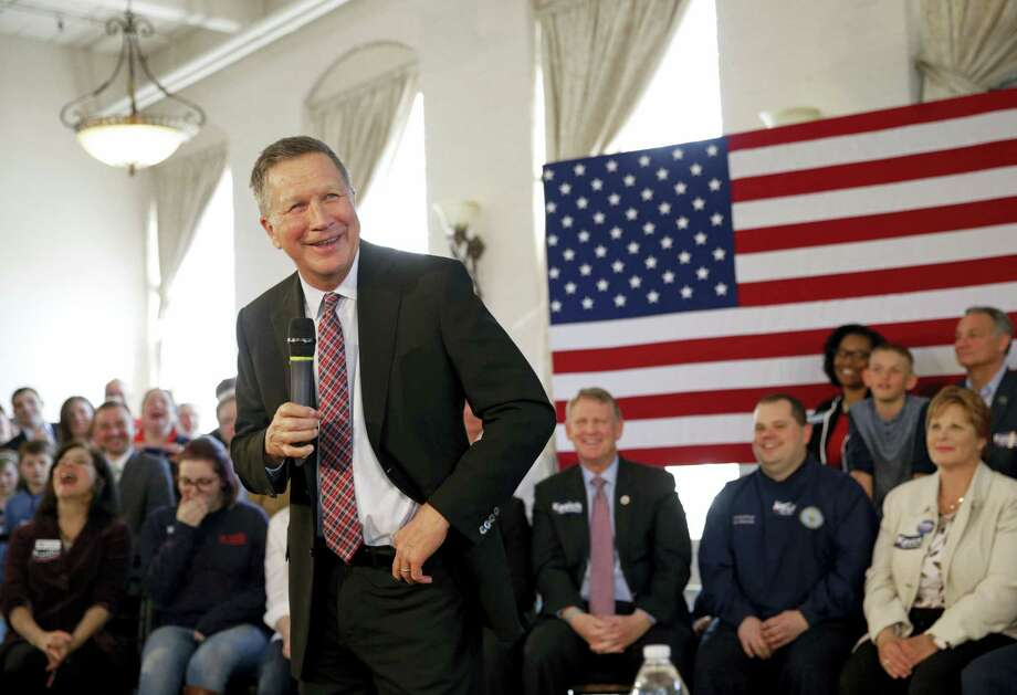 Republican presidential candidate Ohio Gov. John Kasich laughs during a town hall at Savage Mill in Savage, Md., Wednesday. Photo: Patrick Semansky — The Associated Press  / AP