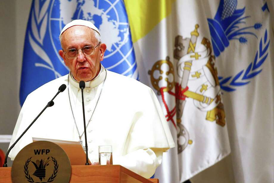 """Pope Francis delivers his speech during a visit to the United Nations World Food Program headquarters in Rome,  Monday, June 13, 2016.  Pope Francis said it is a """"strange paradox"""" that food often cannot get through to those suffering due to war but weapons can. Photo: Tony Gentile/ Pool Photo Vi AP   / Reuters Pool"""