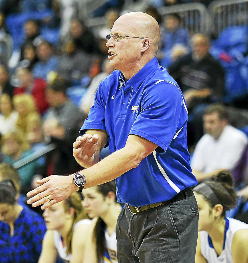 Mercy girls basketball coach Tim Kohs is entering his 24th season with the Tigers. Mercy hosts SCC champion Hand on Friday. Photo: Catherine Avalone - New Haven Register  / New Haven RegisterThe Middletown Press
