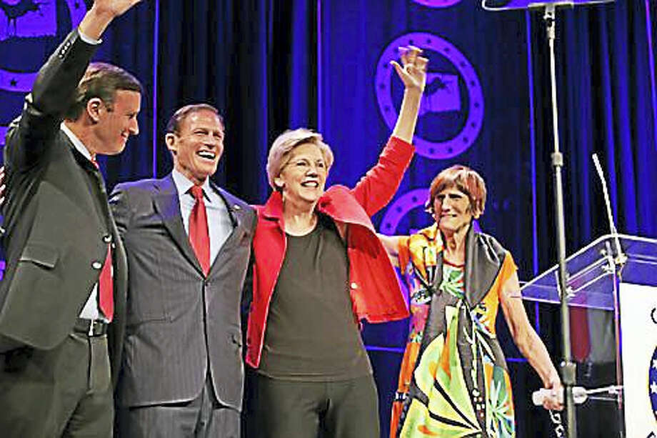 From left: U.S. Sens. Chris Murphy, Richard Blumenthal and Elizabeth Warren with U.S. Rep. Rosa DeLauro at last year's dinner. Photo: CTNJ File Photo