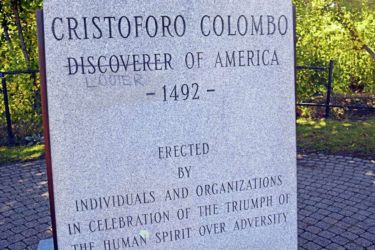 The Christopher Columbus statue at Harbor Park in Middletown was vandalized by graffiti last month.