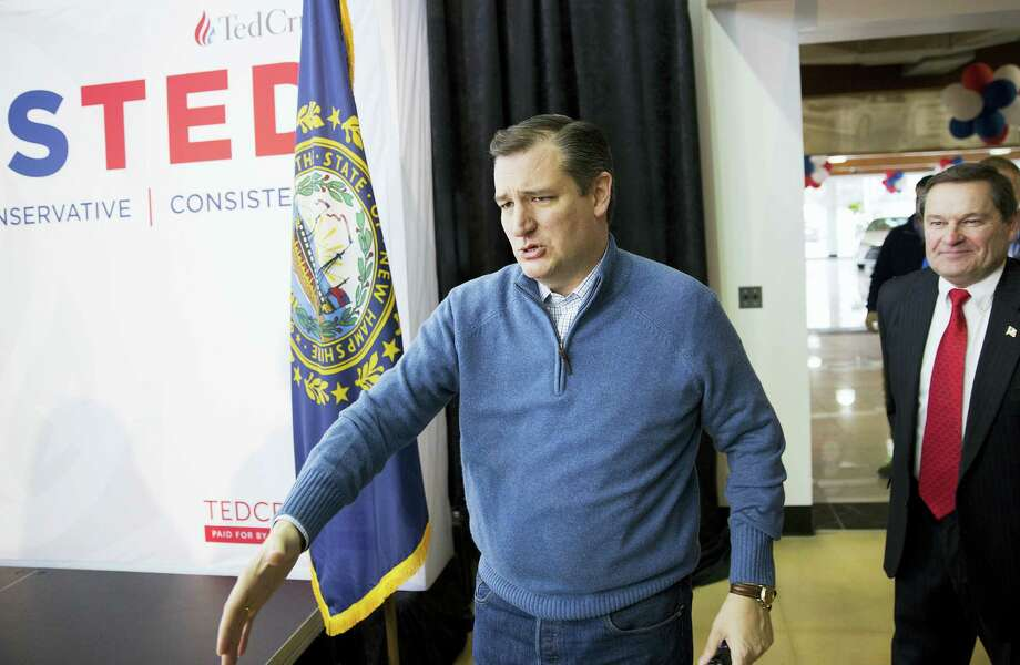 THE ASSOCIATED PRESS Republican presidential candidate Sen. Ted Cruz, R-Texas, arrives to speak at a campaign event at a Toyota auto dealership Thursday in Portsmouth, N.H. Photo: AP / AP