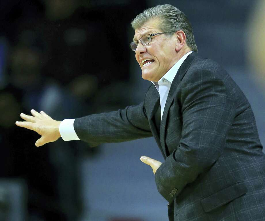 UConn coach Geno Auriemma directs his team during the first half against Kansas State on Sunday. Photo: Orlin Wagner — The Associated Press   / Copyright 2016 The Associated Press. All rights reserved.