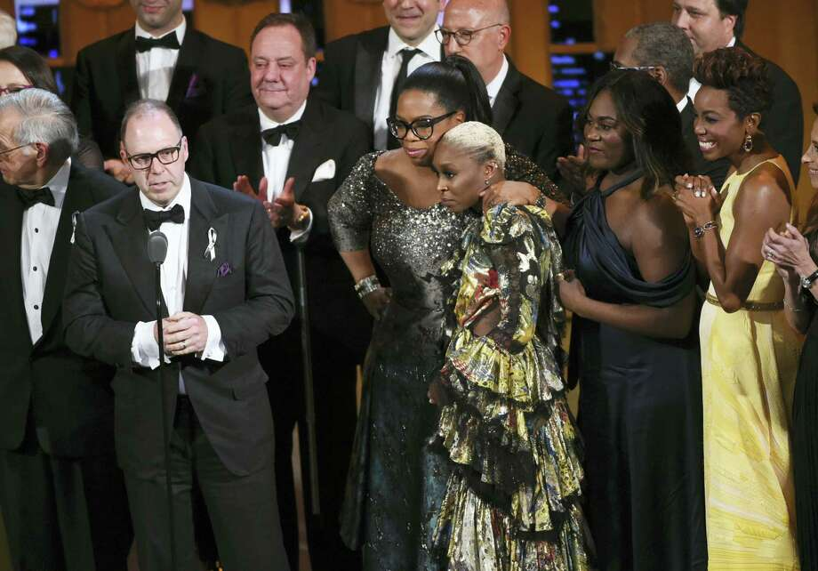 Producer Scott Sanders, left, accepts the Tony Award for Best Revival of a Musical for 'The Color Purple' with his cast and creative team including Oprah Winfrey, center, and Cynthia Erivo at the Tony Awards at the Beacon Theatre on June 12, 2016 in New York. Photo: Photo By Evan Agostini/Invision/AP  / Invision