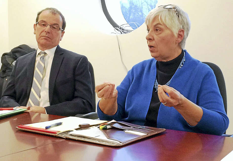 Gian-Carl Casa, president and CEO of the CT Community Nonprofit Alliance, left, and Pat Bourne, executive director of Sarah Inc. spoke to the Register's editorial board last week. They said Connecticut should be spending more, not less, on social service nonprofit services amid serious fiscal troubles. Photo: (Wes Duplantier/The New Haven Register)