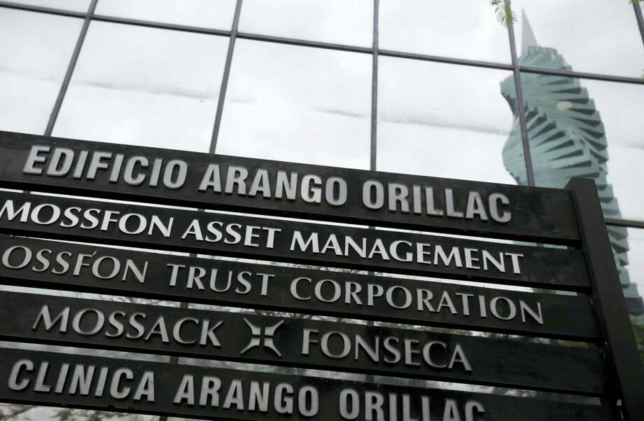 A marquee of the Arango Orillac Building lists the Mossack Fonseca law firm in Panama City on April 7, 2016. Earlier on Wednesday the Panamanian based law firm filed a complaint with Panamanian prosecutors, alleging that the 11.5 million documents revealed in the leak were stolen by a hacking attack from somewhere in Europe. Photo: AP Photo/Arnulfo Franco  / AP