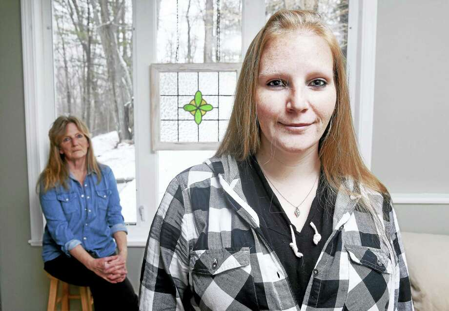 Olivia Weber, right, and her mother, Helen Burke Weber, are photographed in Cheshire April 4. Photo: Arnold Gold — New Haven Register
