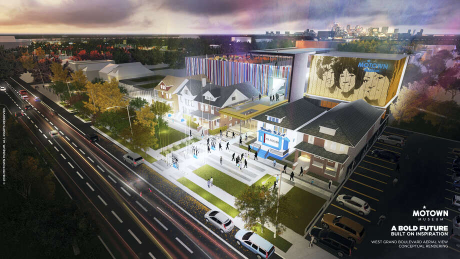 """This artist rendering provided by Identity shows plans for an expansion of the Motown Museum in Detroit that will include interactive exhibits, a performance theater and recording studios. The museum, announced Oct. 17, 2016, is planning the expansion that will be designed and built around the existing museum, which includes the Motown studio with its """"Hitsville U.S.A."""" facade. Photo: Motown Museum/Identity Via AP  / Motown Museum"""