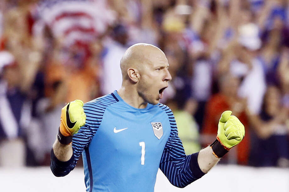 United States' Brad Guzan celebrates after winning a Copa America Group A soccer match against Paraguay on Saturday in Philadelphia. Photo: Matt Rourke — The Associated Press  / Copyright 2016 The Associated Press. All rights reserved. This material may not be published, broadcast, rewritten or redistribu