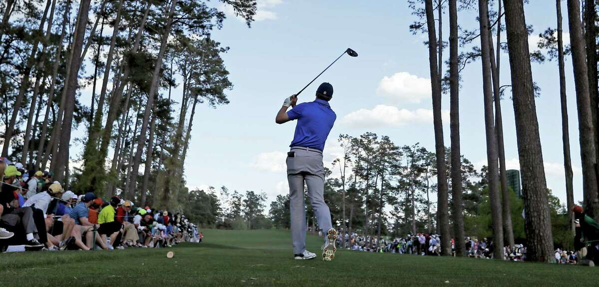 Jordan Spieth tees off on the 17th hole during the second round of the Masters on Friday.