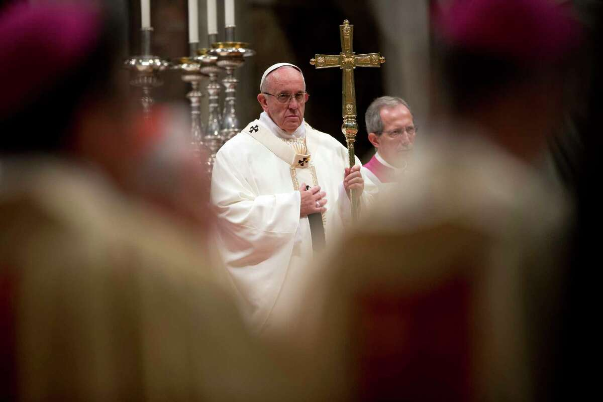 Pope Francis celebrates a Mass for nuns and priests Tuesday, Feb. 2, 2016, in St. Peter's Basilica at the Vatican.