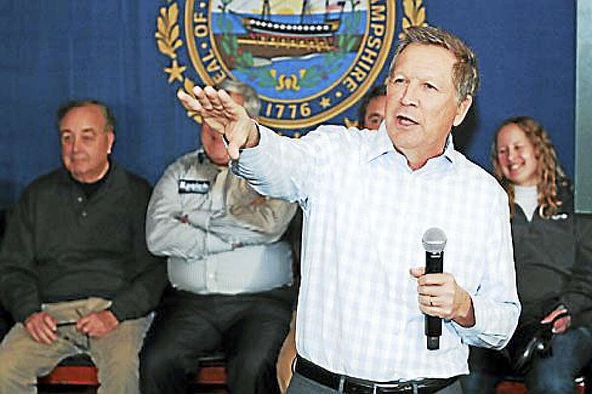 John Kasich at a rally in New Hampshire in February