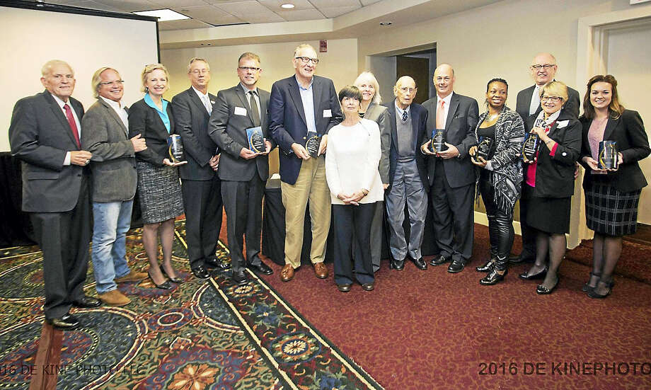 On Oct. 11, The Middlesex Chamber held a Small Business Award luncheon as part of the 2016 Business to Business Expo. Company winners and their representatives are, from left, iCRV Radio, Cromwell Automotive, Angelico's Lake House Restaurant, Saybrook Point Inn and Spa, Tonia's Tailoring, Malloves Jewelers, Nehemiah Brainerd House Bed & Breakfast and Pratt & Whitney. Photo: De Kine Photo LLC   / (c)DE KINE PHOTO LLC