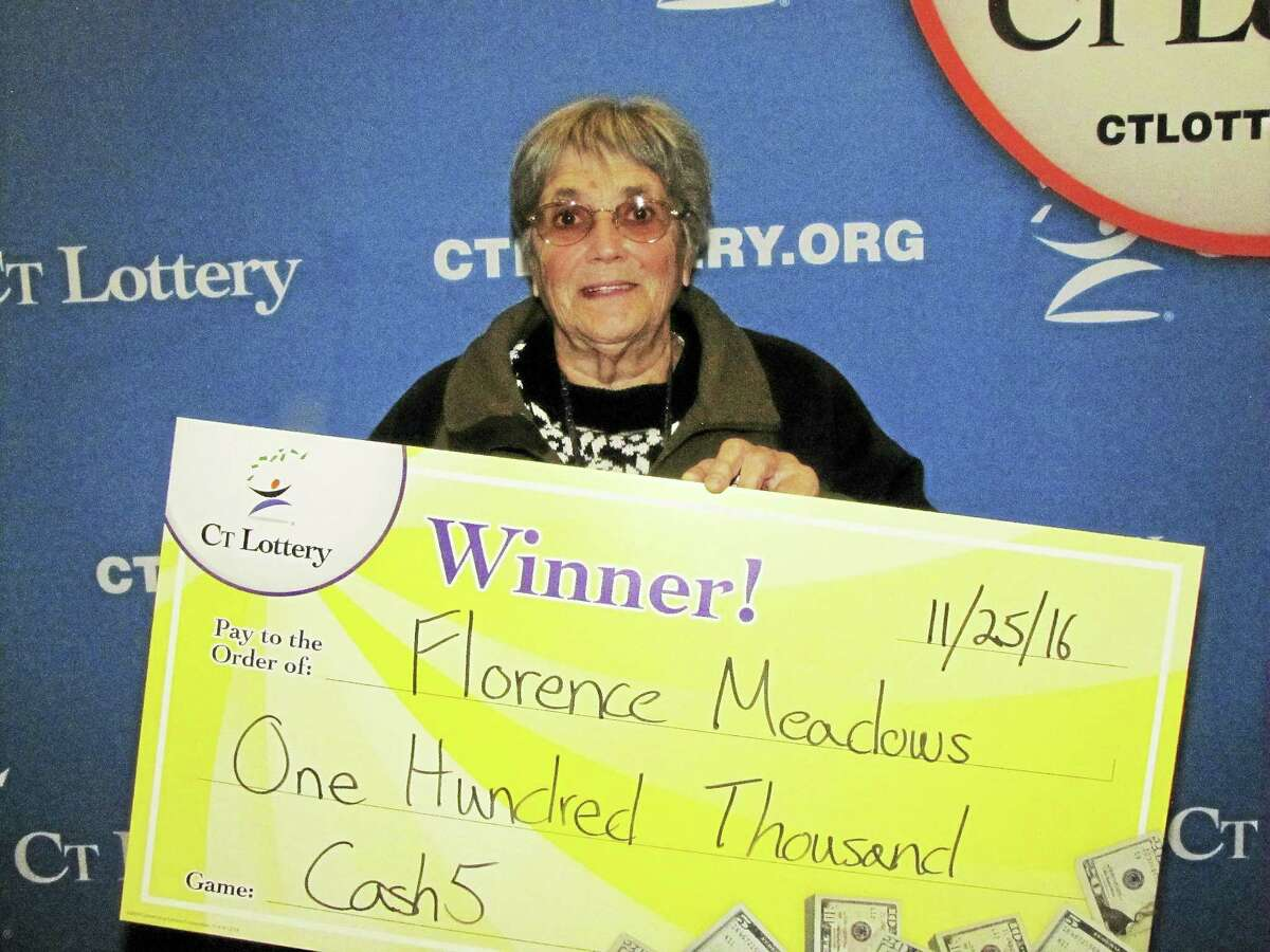Florence Meadows of Rockfall won a $100,000 lottery prize in Cash5 on Black Friday.