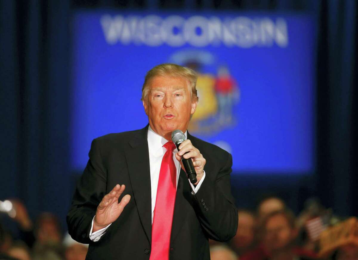 Republican presidential candidate Donald Trump speaks during a campaign event Monday in La Crosse, Wis.