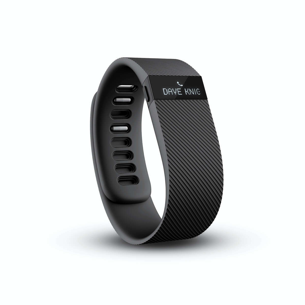 The Fitbit Charge in black, showing a phone call.