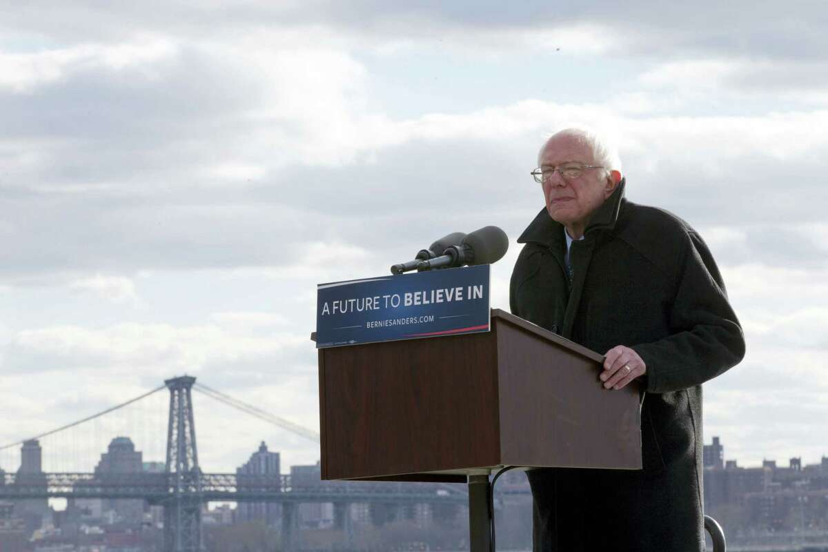 Democratic presidential candidate, Sen. Bernie Sanders, I-Vt., speaks during a rally Friday in the Brooklyn borough of New York.