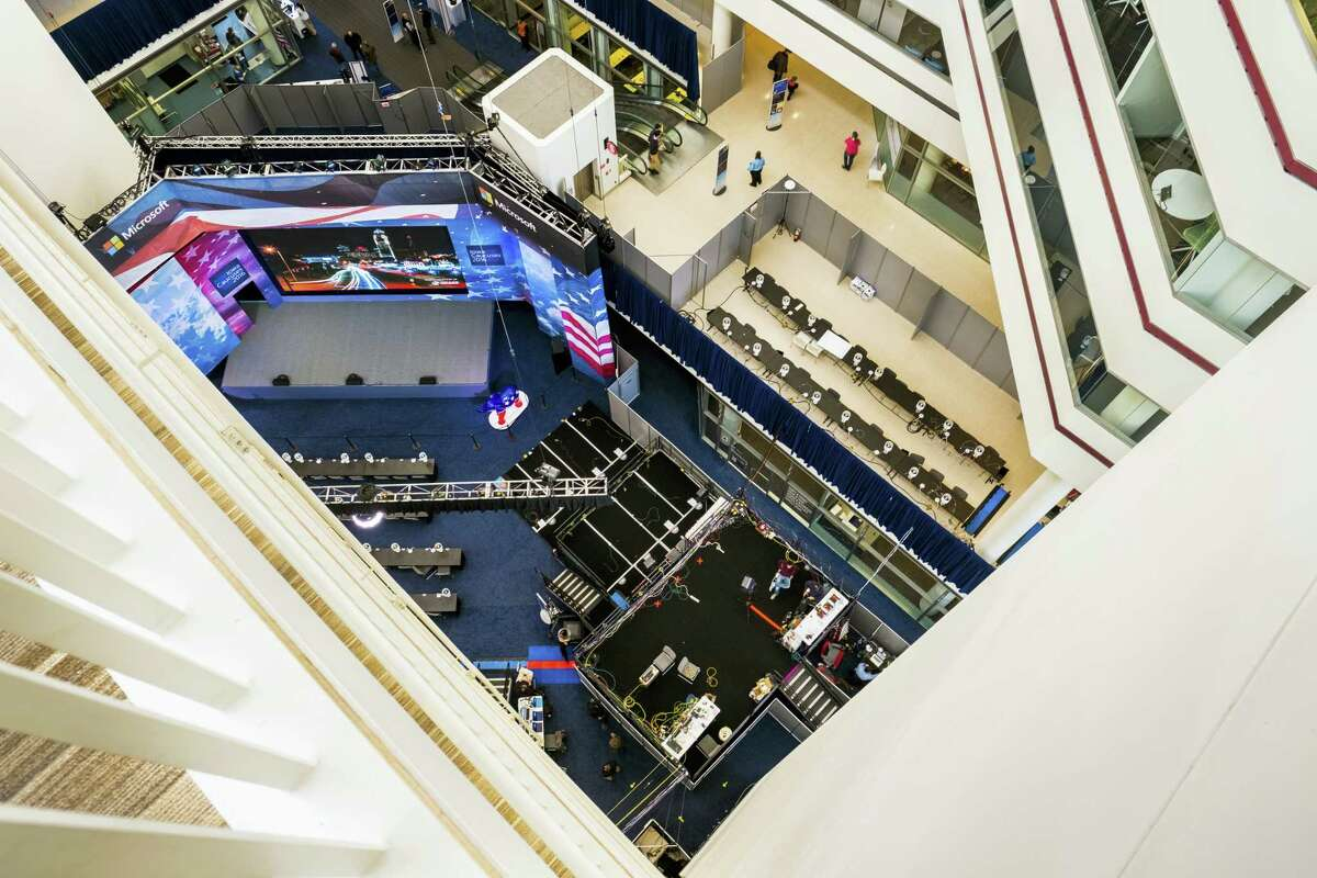 The media center for the Iowa Caucus is seen from seven floors above the live television area on Jan. 29, 2016 in Des Moines, Iowa.