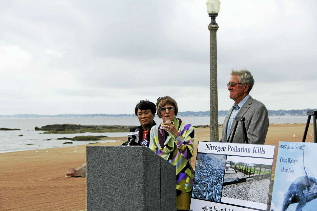U.S. Rep. Rosa L. DeLauro, D-3, speaks about her connections to Long Island Sound and the potential $10 million that will be allocated to protecting it in the federal budget next year.