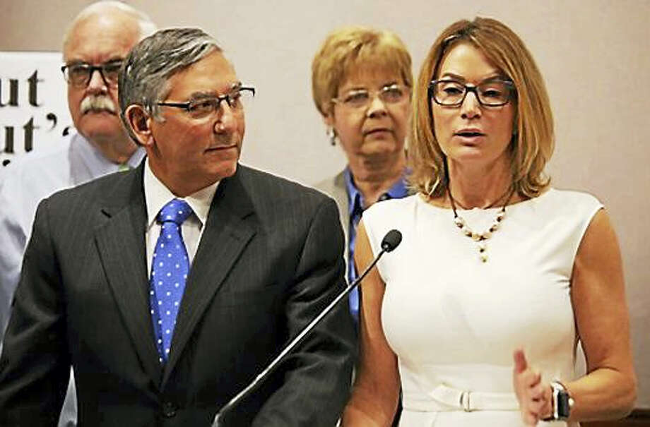 House Minority Leader Themis Klarides and Senate Minority Leader Len Fasano Photo: PHOTO BY CHRISTINE STUART - CTNEWSJUNKIE