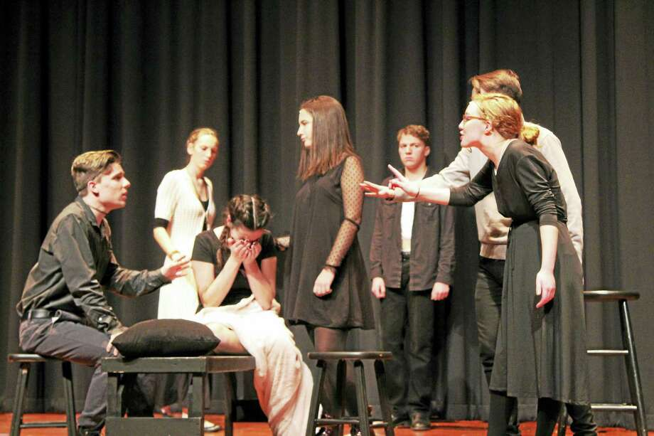 Courtesy Mercy High School Photo L-R: Nathaniel Goff, Grace O'Brien, Talya Pitruzzello, Alexandra Porczak, Brian Farrell, Lucas Cacace (hidden) and Olivia Porriello rehearse a scene from Act One of  The Crucible in Middletown. Photo: Photo By John Porriello