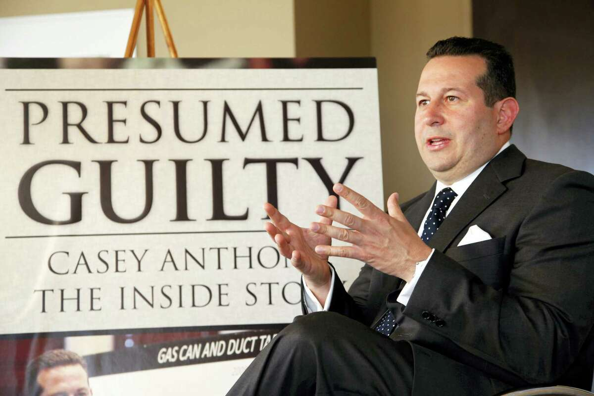 In this July 3, 2012 photo, Casey Anthony's defense attorney, Jose Baez, gestures as he speaks during an interview with The Associated Press in Coral Gables, Fla.