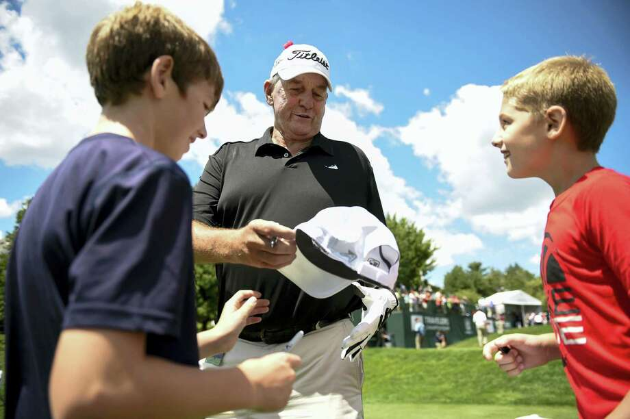 Former UConn coach Jim Calhoun, pictured here at the pro-am for the Travelers Championship golf tournament last week, will have many of his former players return for the Jim Calhoun Charity All-Star Game Friday at the Mohegan Sun Arena. Photo: JOHN WOLKE — HARTFORD COURANT VIA AP  / Hartford Courant