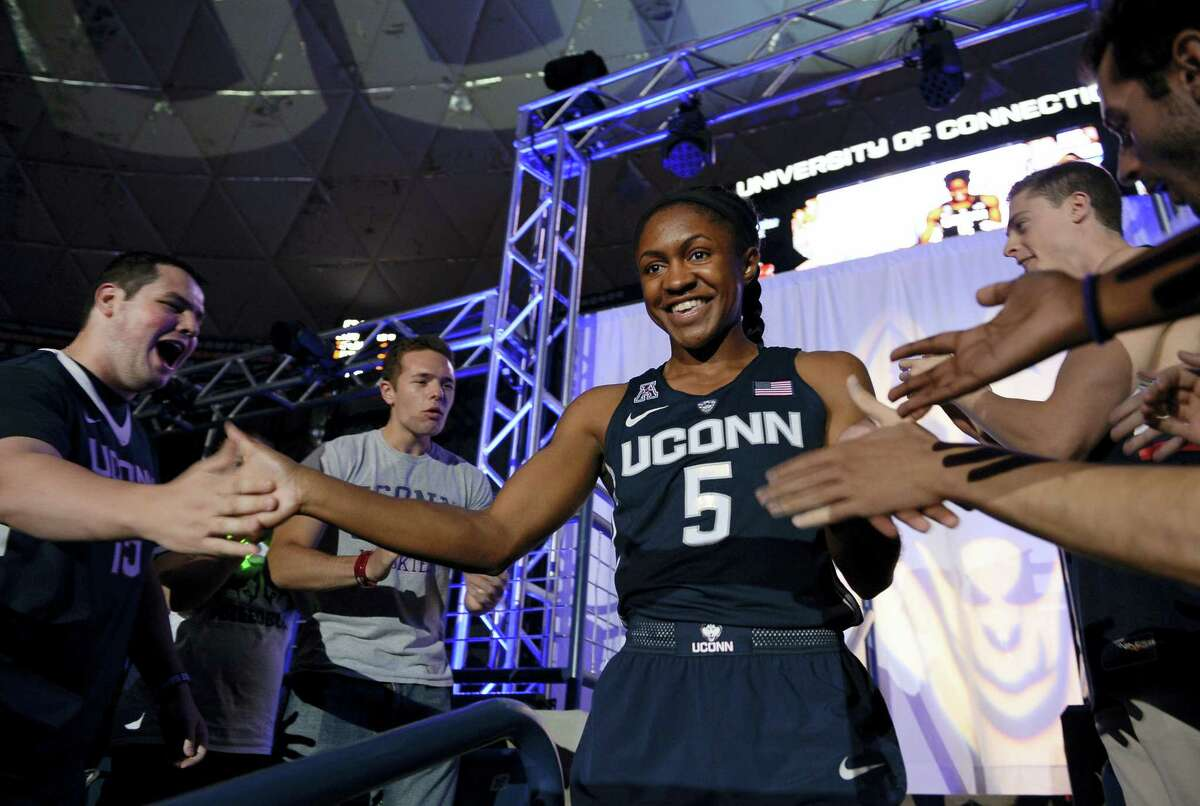UConn's Crystal Dangerfield is introduced to the crowd.