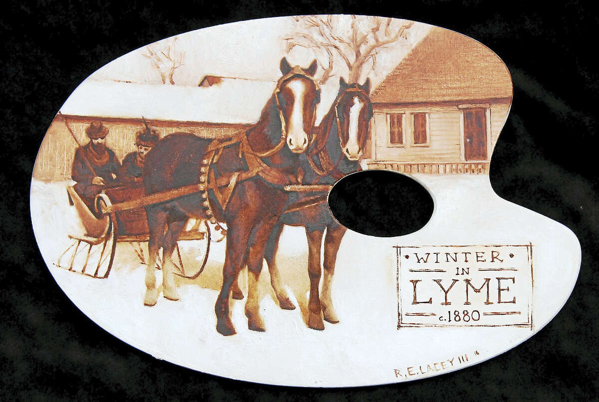 Contributed photo Winter in Lyme, by R.E. Lacey III, is included on the Artists' Tree display at the Florence Griswold Museum.