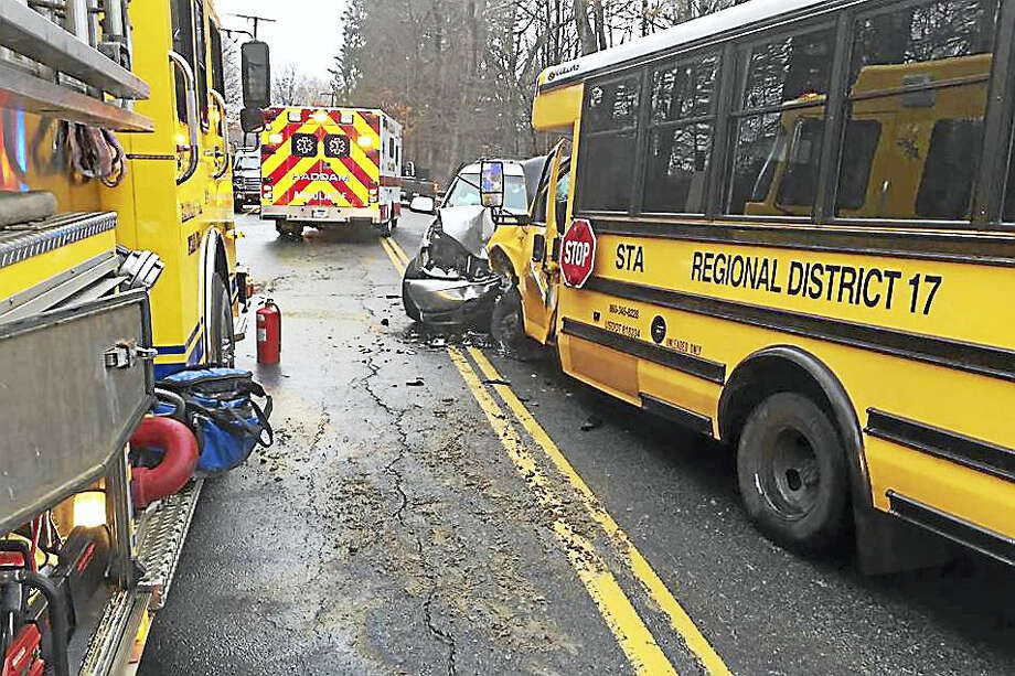 No Haddam-Killingworth Middle School children were on board, and the bus driver suffered a broken foot, police believe. Photo: Courtesy Haddam Fire