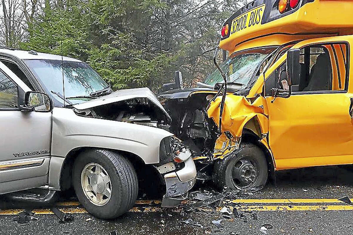 The scene of a school bus versus SUV head-on collision Wednesday morning in Haddam