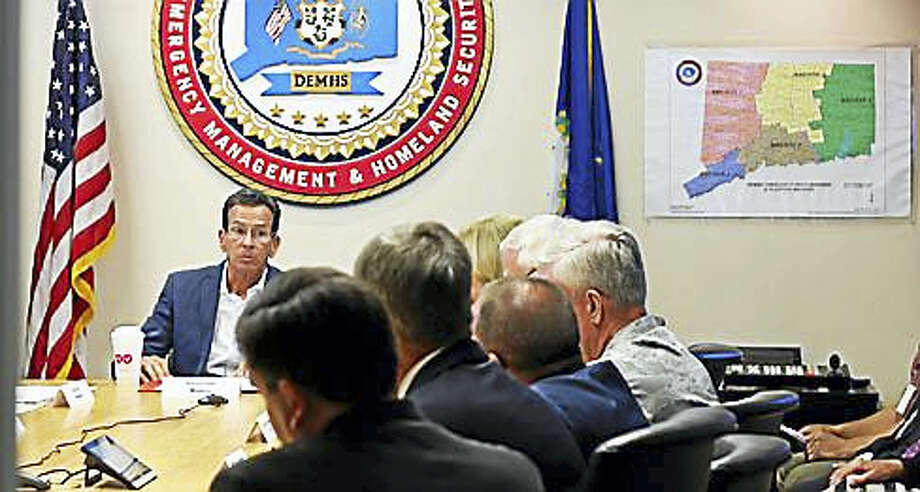 Gov. Dannel P. Malloy at the Emergency Operations Center Tuesday Photo: Christine Stuart Photo