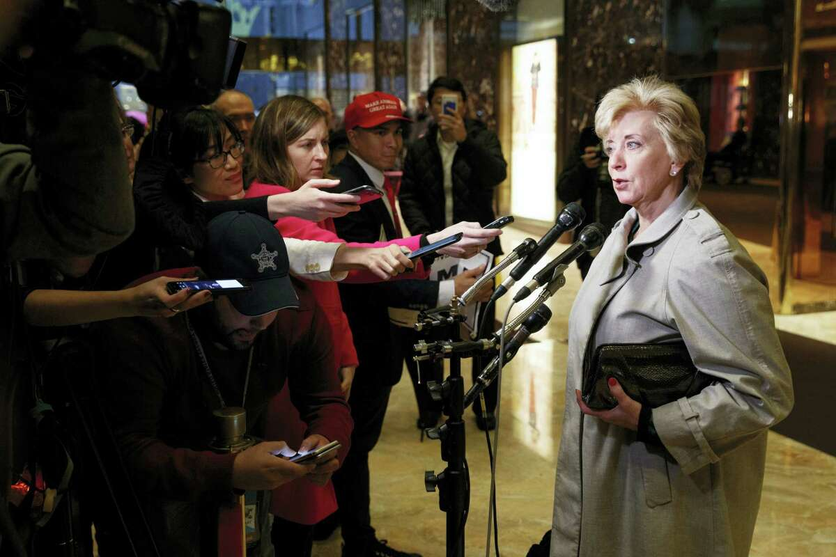 In this file photo, Linda McMahon talks with reporters after a meeting with President-elect Donald Trump at Trump Tower in New York. President-elect Donald Trump will nominate wrestling executive Linda McMahon to serve as administrator of the Small Business Administration, a Cabinet-level position.
