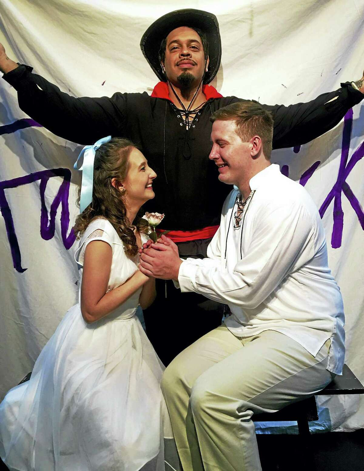 Photo courtesy of Connecticut Cabaret TheatreJillian Caillouette and Jordan Duvall, seated, and Jon Escobar, standing, star in the Connecticut Cabaret Theater's production of The Fantasticks, opening Aug. 19.