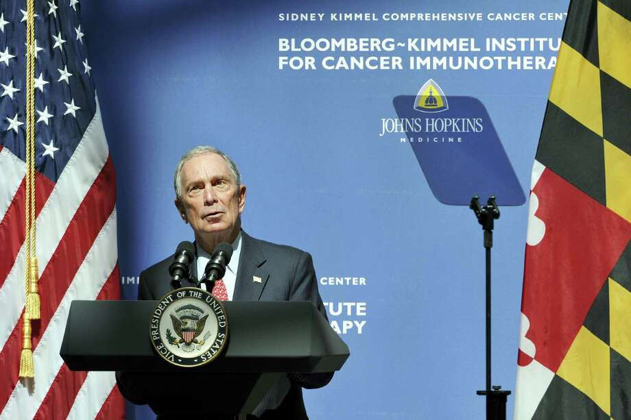 Former New York City Mayor Michael Bloomberg speaks at the launch of a new immunotherapy institute at Johns Hopkins University in Baltimore, Md., Tuesday, March 29, 2016. The new institute was funded by $125 million in donations from Bloomberg, philanthropist Sidney Kimmel and others. Photo: Amy Davis/The Baltimore Sun Via AP   / Baltimore Sun Media Group