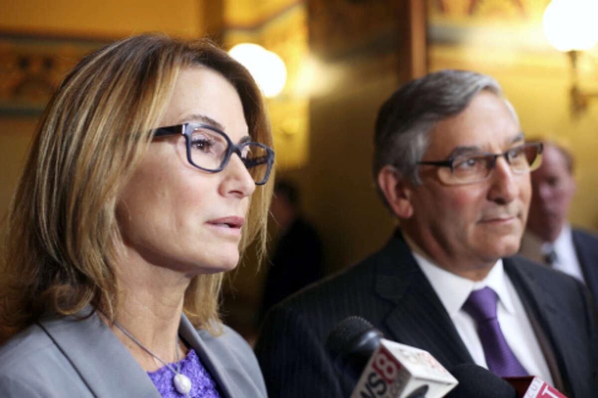 Senate Minority Leader Len Fasano and House Minority Leader Themis Klarides