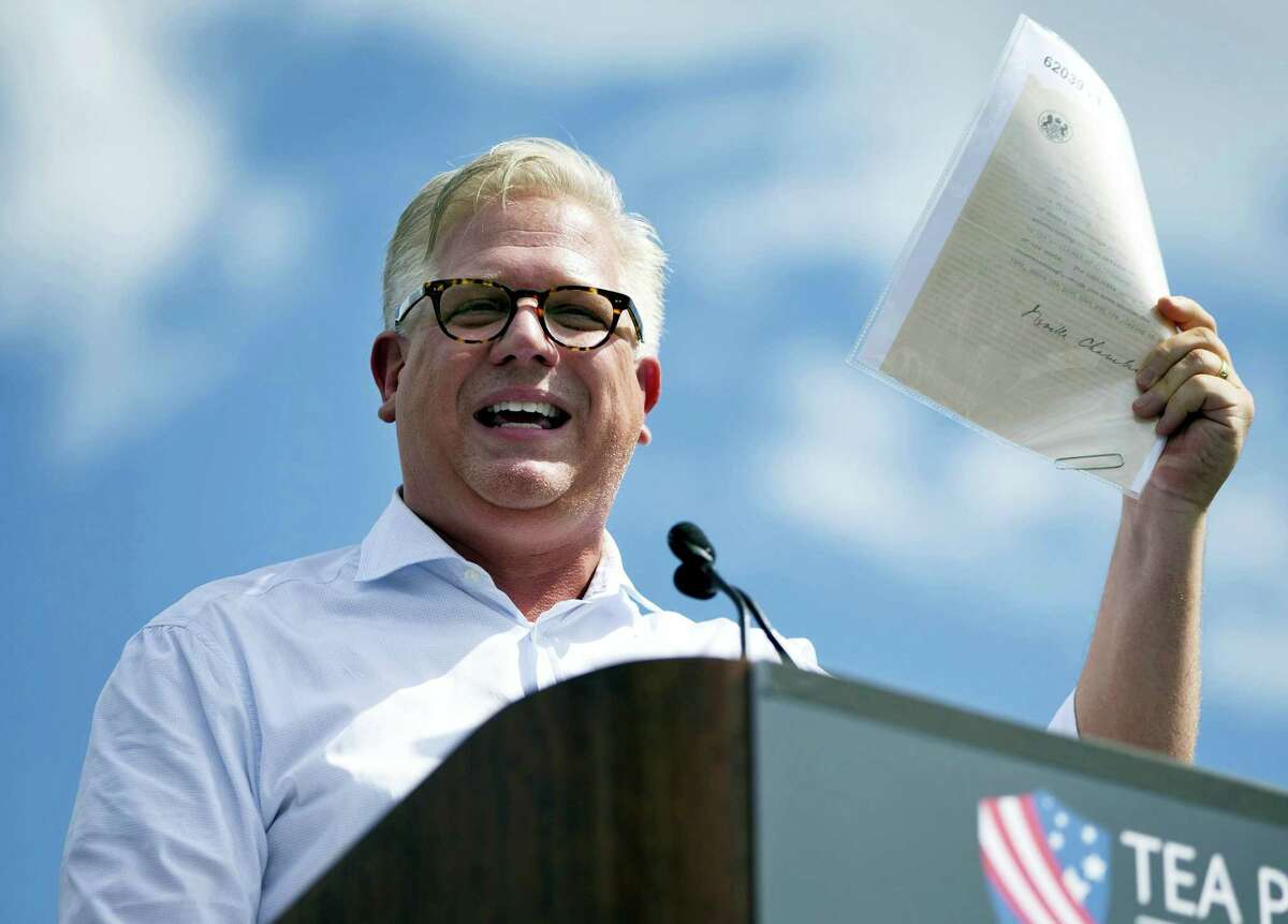 In this Wednesday Sept. 9, 2015 photo, radio host Glenn Beck speaks during a Tea Party rally against the Iran deal on the West Lawn of the Capitol in Washington.