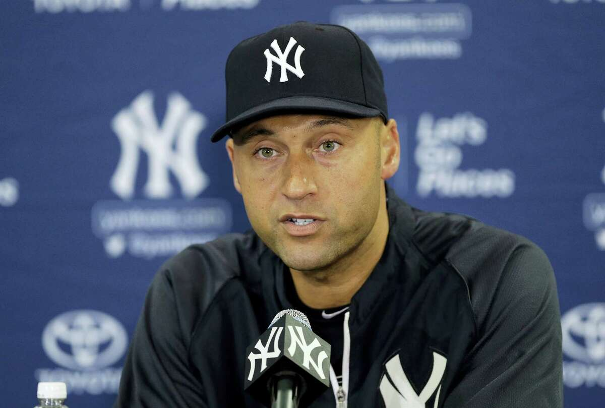 In this Feb. 19, 2014 photo, New York Yankees shortstop Derek Jeter speaks during a news conference, in Tampa, Fla. Jeter's No. 2 is being retired, the last of the New York Yankees' single digits. The Yankees said Tuesday, Dec. 6, 2016 the number will be retired on May 14 before a Mother's Day game against Houston, and a plaque in his honor will be unveiled in Monument Park during the ceremony.