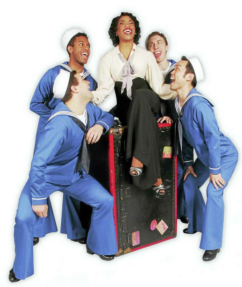 "Photo courtesy of Goodspeed MusicalsRashidra Scott with Edward Tolve, John T Wolfe, James Tolbert and Christopher Shin in a publicity shot for ""Anything Goes"" at Goodspeed Musicals. Photo: Journal Register Co."