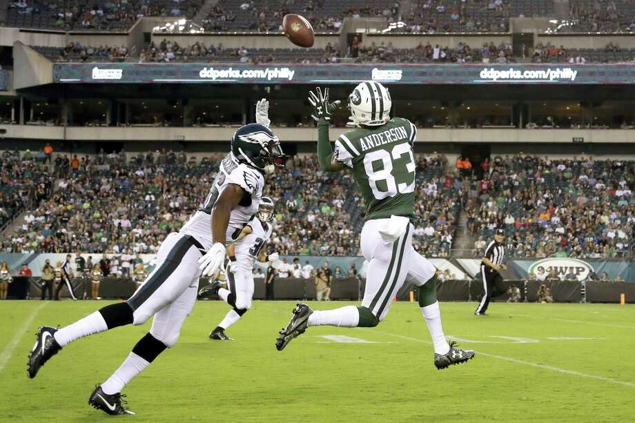 The Jets' Robby Anderson (83) pulls in a pass for an eventual touchdown against Philadelphia Eagles' JaCorey Shepherd, left, during a preseason game. Photo: The Associated Press File PHOTO  / Copyright 2016 The Associated Press. All rights reserved.