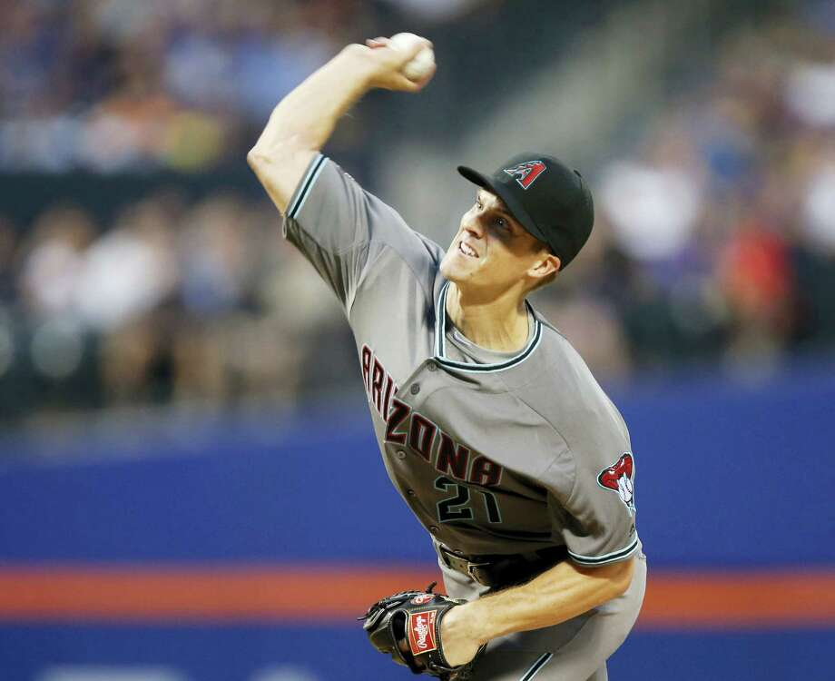 Diamondbacks starting pitcher Zack Greinke throws during the second inning on Tuesday. Photo: Kathy Willens — The Associated Press  / Copyright 2016 The Associated Press. All rights reserved. This material may not be published, broadcast, rewritten or redistribu