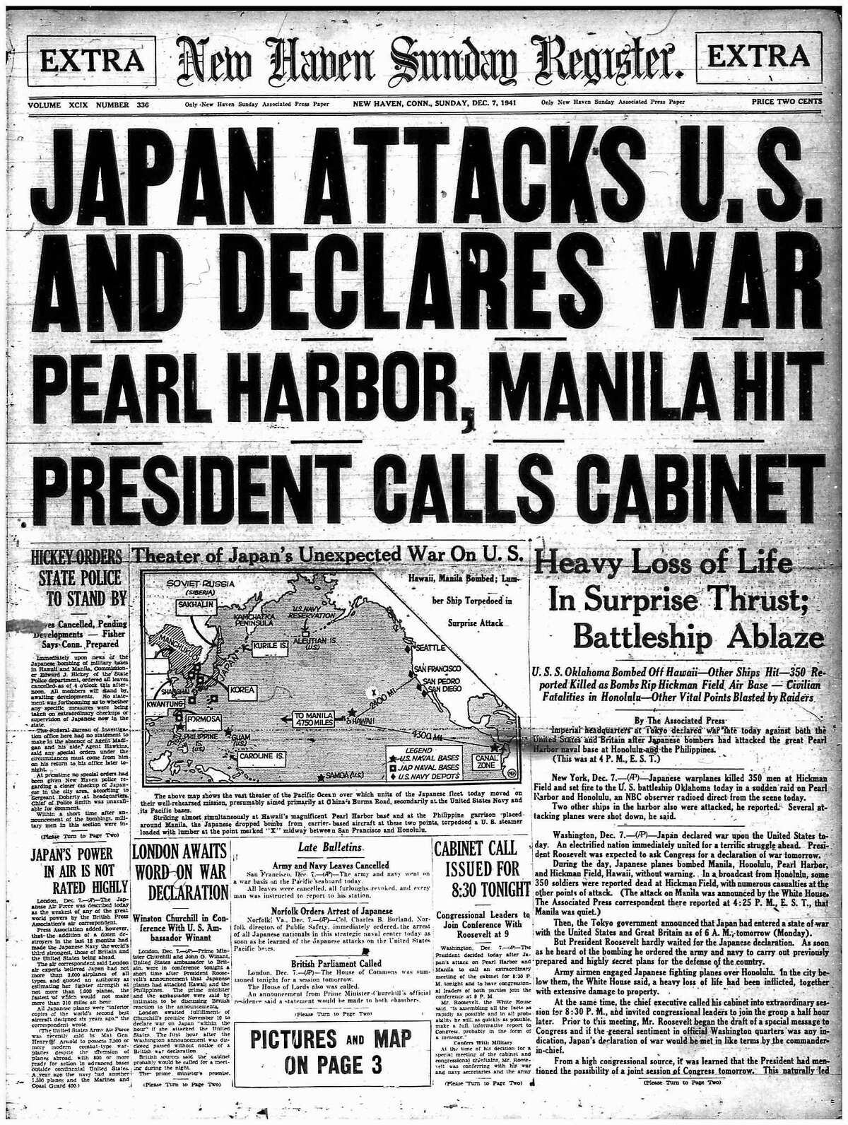 The front page of the New Haven Register in an extra edition on Dec. 7, 1941 after the attack on Pearl Harbor.
