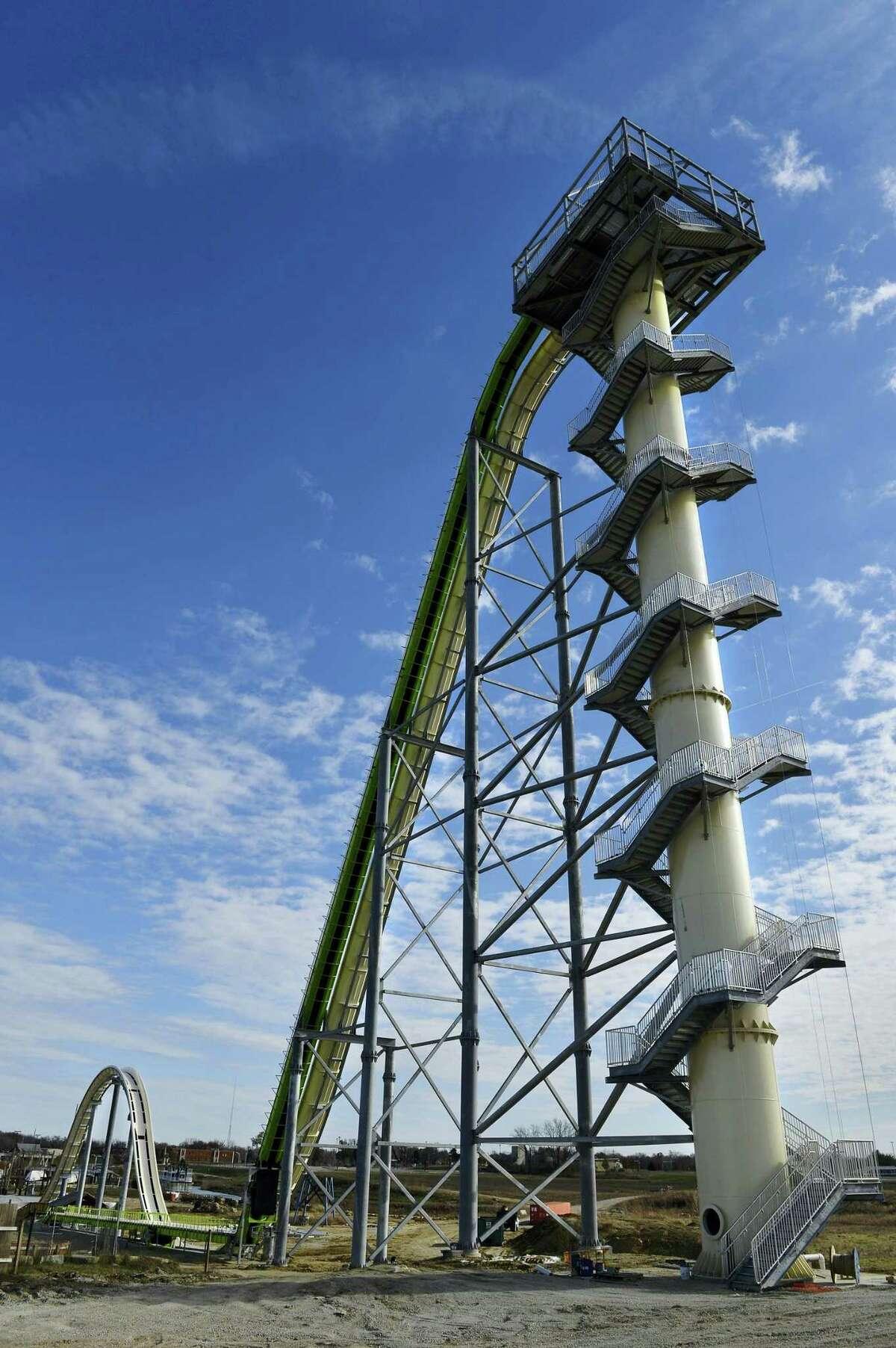 This Nov. 2013 photo shows Schlitterbahn's new Verruckt speed slide/water coaster in Kansas City, Kan.