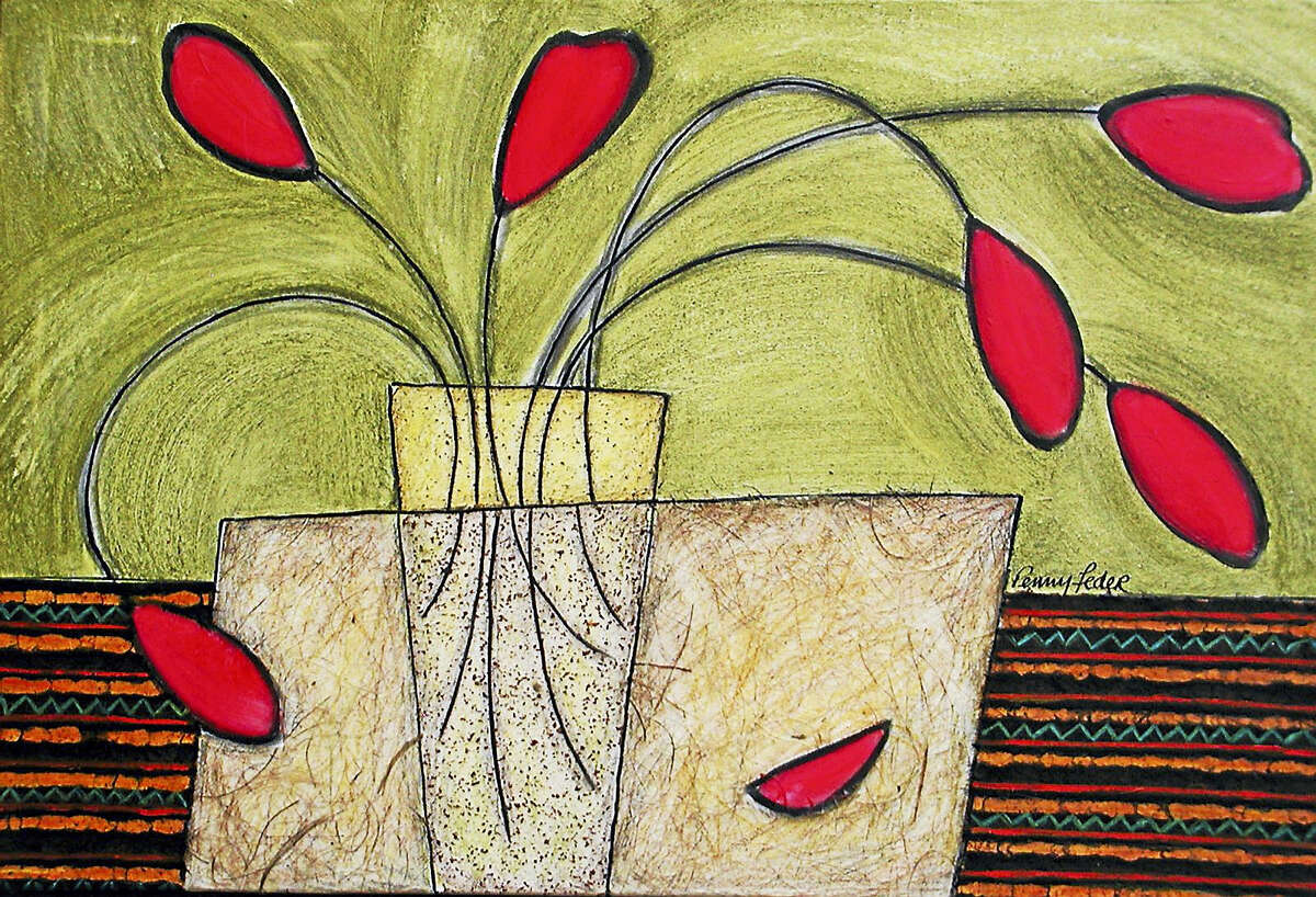 Contributed photo Penny Feder's Red Teardrop Floral, mixed media on canvas.