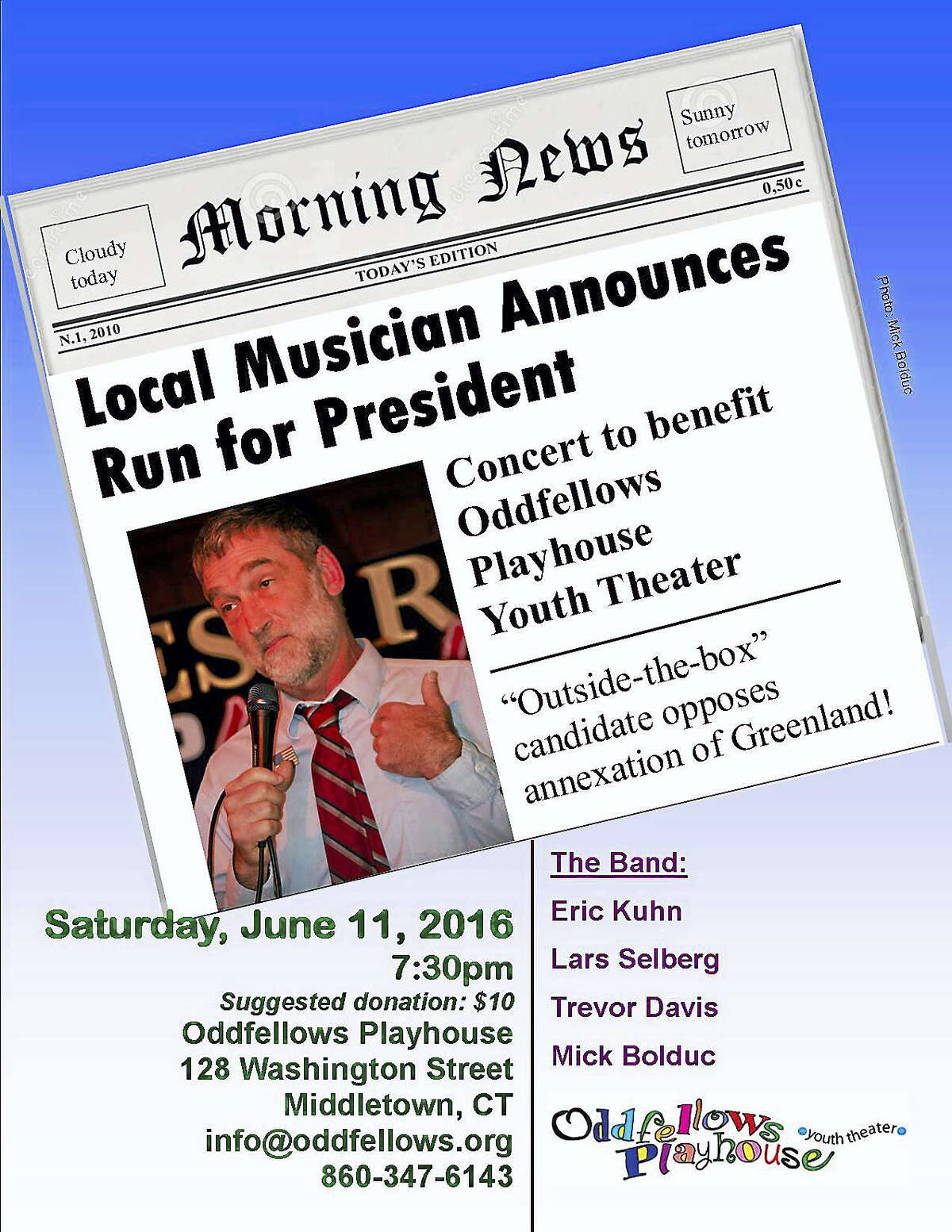 Contributed photo Eric Kuhn's concert on June 11 benefits Oddfellows Playhouse Youth Theater.