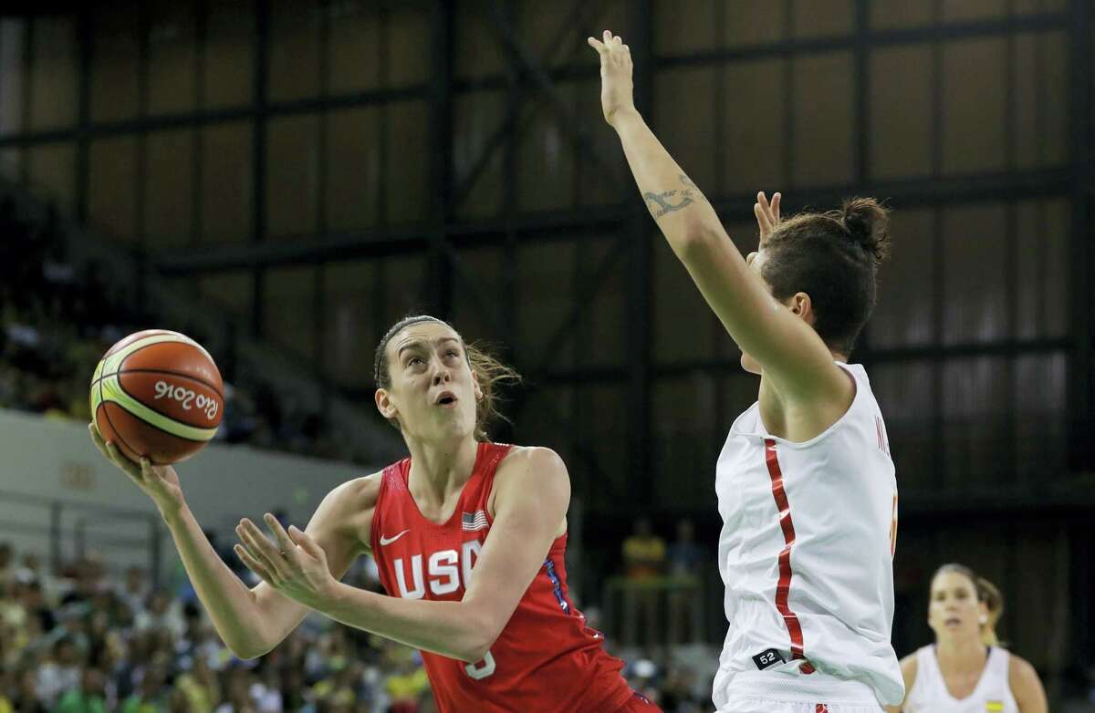 United States forward Breanna Stewart shoots during the first half of a women's basketball game against Spain at the Youth Center at the 2016 Summer Olympics in Rio de Janeiro, Brazil on Aug. 8, 2016.