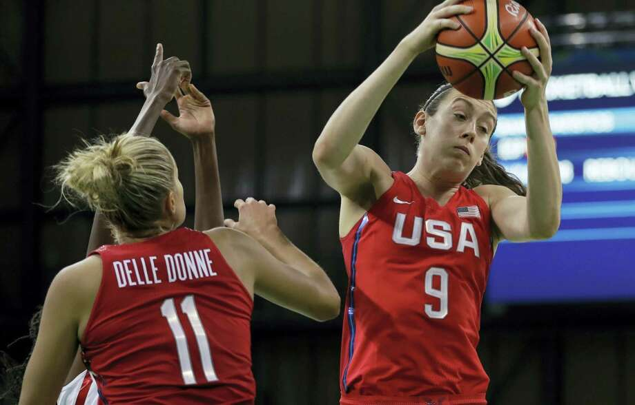United States forward Breanna Stewart (9) grabs a rebound during the second half of Monday's win over Spain. Photo: Carlos Osorio — The Associated Press  / Copyright 2016 The Associated Press. All rights reserved. This material may not be published, broadcast, rewritten or redistribu