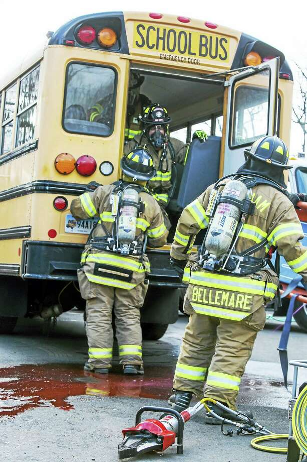 A regional emergency response drill was held Saturday in Middlefield to test the capabilities of Middlefield emergency response services, those in the surrounding communities and hazardous material teams. Photo: Sandy Aldieri — Special To The Press