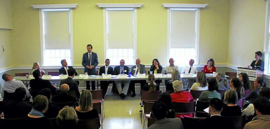 Middlesex County political hopefuls and incumbents in the Nov. 8 election joined a candidates panel hosted by Middlesex Children's Coalition Thursday in Middletown. Photo: Kathleen Schassler — The Middletown Press  / Kathleen Schassler All Rights