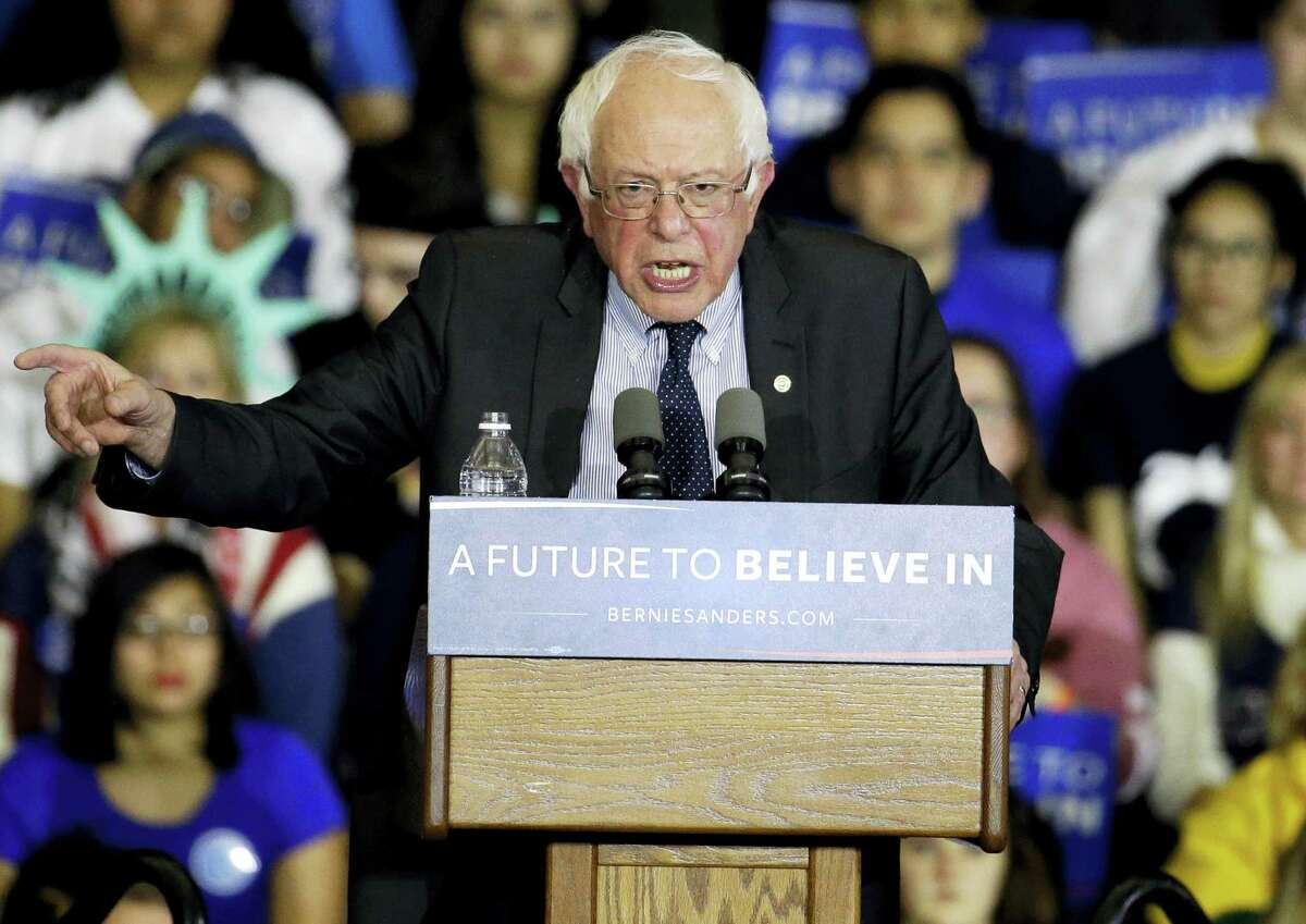 Democratic presidential candidate, Sen. Bernie Sanders speaks at a recent campaign stop at Sheboygan South High School Acuity Fieldhouse in Sheboygan, Wis.